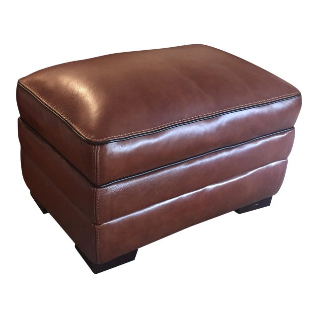 Macy's Brown Leather Ottoman - Image 1 of 3