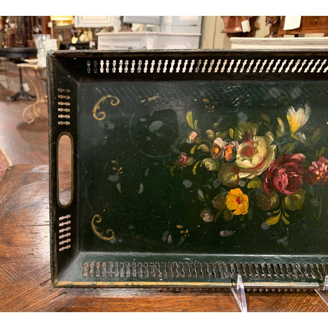 Late 19th Century 19th Century French Hand Painted Rectangular Gallery Tole Tray For Sale - Image 5 of 9