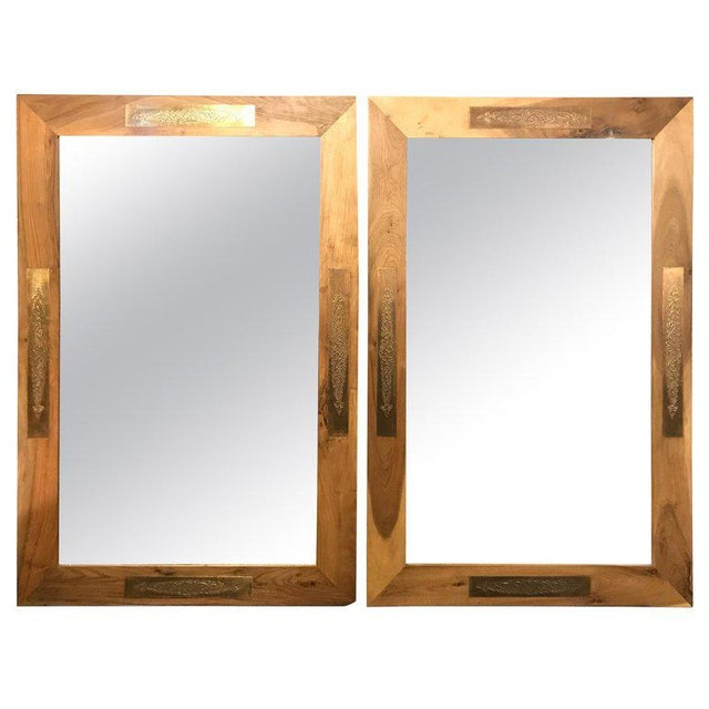 Pair of Hollywood Regency Style Brass Framed Wall or Console or Pier Mirrors For Sale - Image 10 of 10