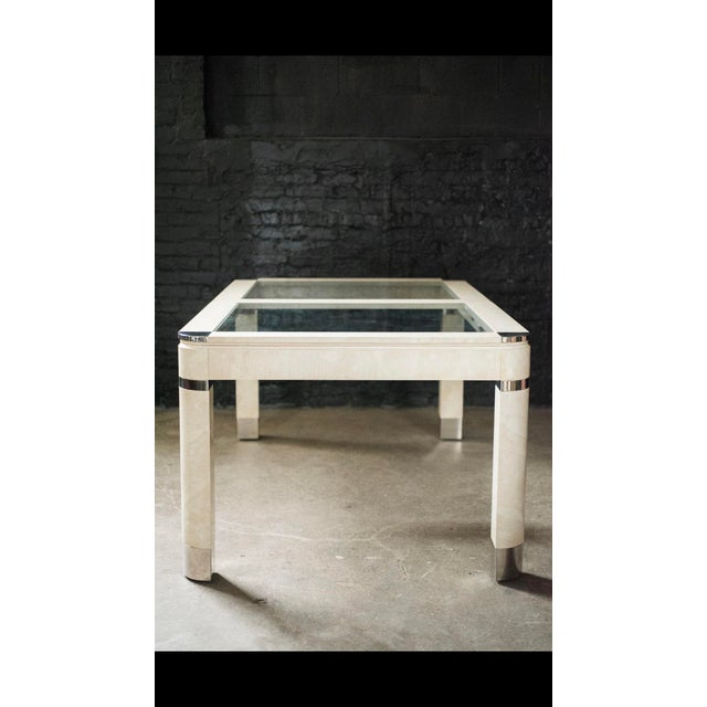 1980s Modernist Lacquered Ivory Parchment Skin, Chrome & Glass Extendable Dining Table For Sale In Chicago - Image 6 of 13