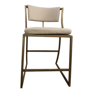 Ballard Designs Linen and Antique Brass Counter Stool For Sale