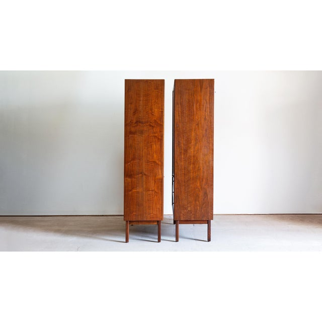Founders Furniture Company 1960s Mid Century Modern Jack Cartwright for Founders Walnut Armoire Dressers - a Pair For Sale - Image 4 of 10