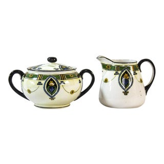Noritake Art Deco Creamer & Sugar For Sale