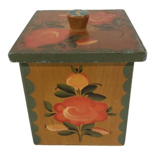 Antique Floral Wood Painter Salt Box