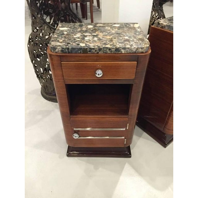 Circa 1930s French Art Deco Night Tables with Marble Tops - A Pair For Sale - Image 4 of 5