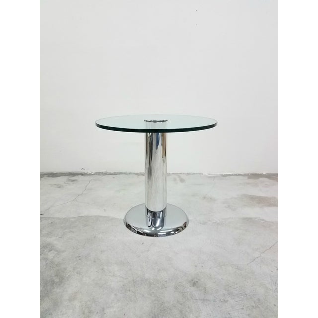 Absolutely gorgeous, polished chrome and glass pedestal table. A smaller table, but not small on style. Perfect size card...
