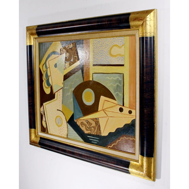 Cubism Cubist Style Framed Painting Signed H. Riedel For Sale - Image 3 of 10