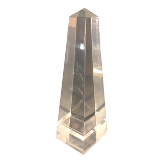 Vintage Mid-Century Clear Lucite Obelisk