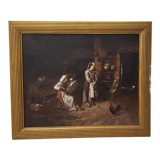 "Joseph Mazzuloni (Italy, B. 1868) ""The Broken Jug"" Original Oil Painting C. 1890s For Sale"