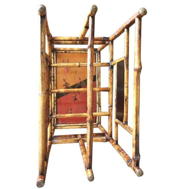Restored Aesthetic Movement Large Two-Tier Tiger Bamboo Magazine Rack W/ Divider For Sale - Image 4 of 7