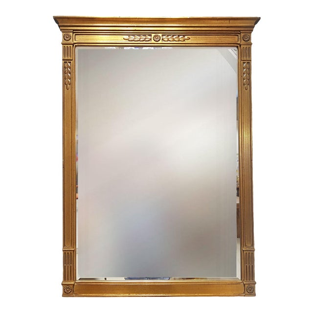 Vintage Rectangular Neoclassical Gilded Wall Mirror For Sale