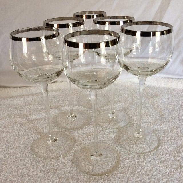 Tall Vintage Crystal Platinum Rim Wine Glasses - Set of 6 For Sale - Image 13 of 13