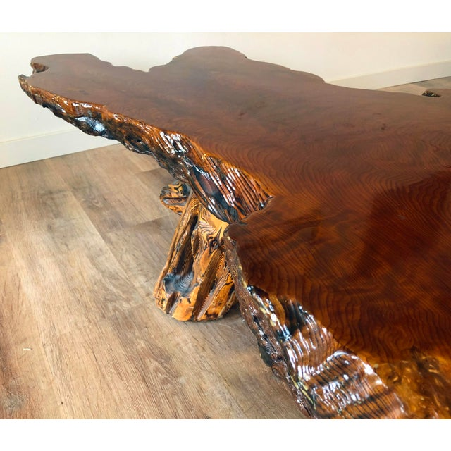 Vintage Boho Chic Beefy Low-Profile Witco Style Raw Edge Coffee Table For Sale - Image 4 of 13
