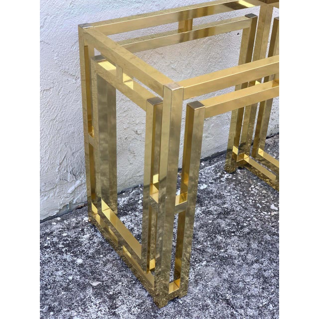 Metal Milo Baughman Style Brass Table Base For Sale - Image 7 of 12