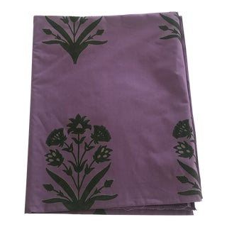 Muriel Brandolini Purple and Olive Cotton Fabric- 2 Yards For Sale