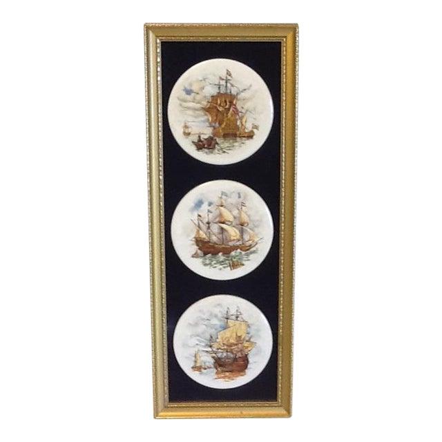 Staffordshire Ceramics Framed Ship Plaques, Framed For Sale