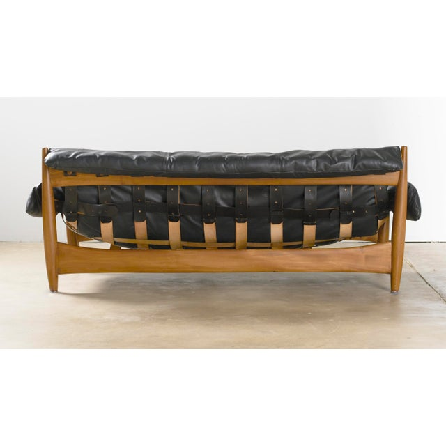 Mid-Century Modern Mid Century Brazilian Modern Sheriff Sofa in Black Leather Designed by Sergio Rodrigues. For Sale - Image 3 of 9