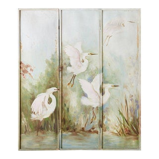 Continental Painted Folding Screen of Four Cranes For Sale