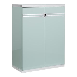 A Pierre Cardin Aquamarine Lacquered Wardrobe Cabinet 1970s For Sale