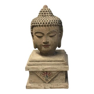 Vintage Chinese Iron Buddha Head On Wooden Base For Sale