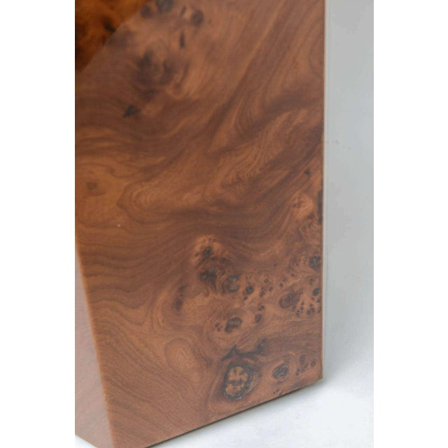 Brown Hexagonal Burl Wood Pedestals - Set of 3 For Sale - Image 8 of 10