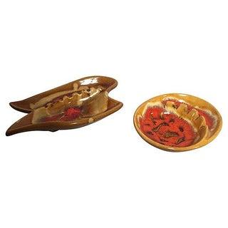 California Pottery Ashtrays W/ Splatter Glaze - Pair