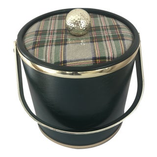 Hunter Green Golf-Themed Ice Bucket W/Plaid Lid For Sale