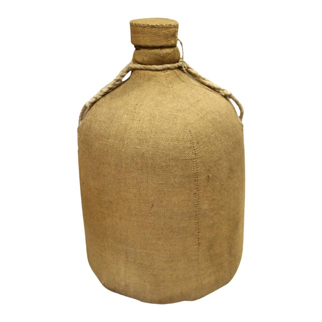 Large French Glass Bottle and Cork Lid With Original Cloth Covering For Sale