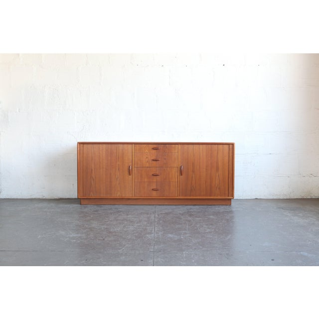 Brown 1950s Mid-Century Modern Dyrlund Credenza With Tambour Doors For Sale - Image 8 of 8