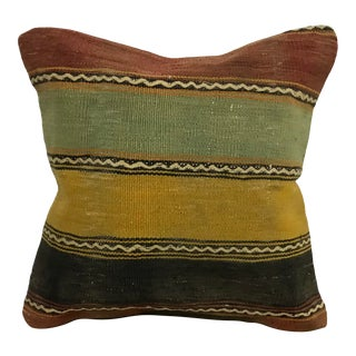 Traditional Striped Vintage Turkish Anatolian Multicolor Wool Kilim Pillow Cover For Sale
