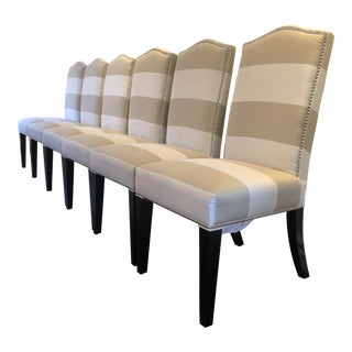 Modern Striped Horchow Dining Chairs- Set of 6 For Sale