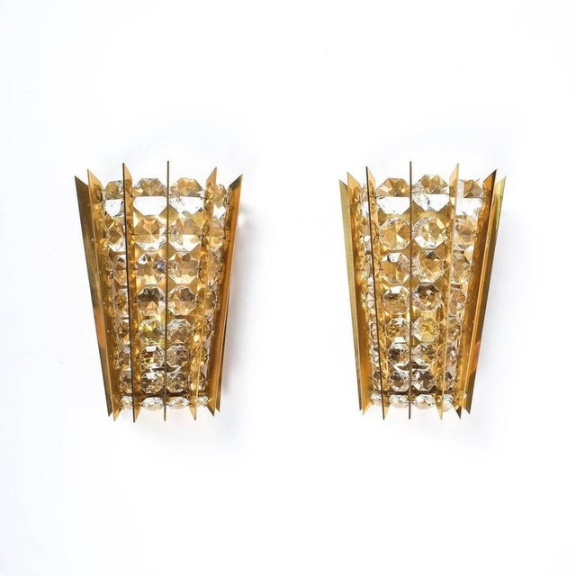 Metal Set of Five Crystal and Brass Sconces by Bakalowits & Sohne For Sale - Image 7 of 8