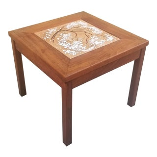 1960s Mid-Century John Keal for Brown Saltman Walnut and Copper Side Table For Sale