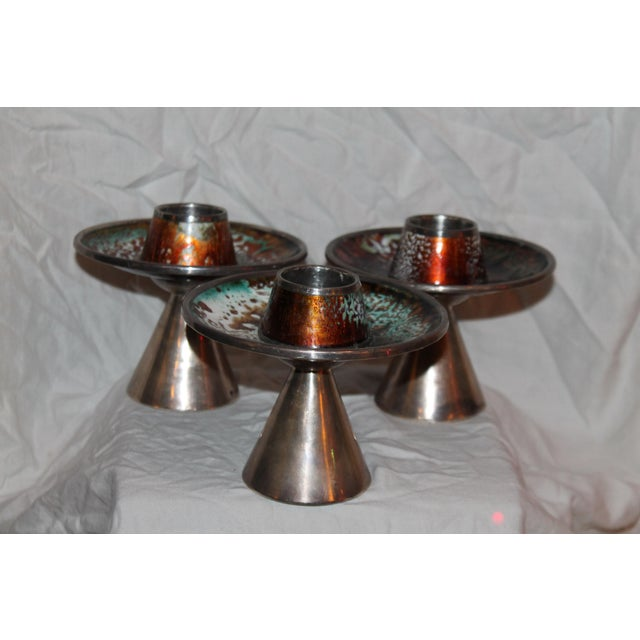1930s Signed & Stamped Maison Bagues Enameled French Art Deco Candle Holders - Set of 3 For Sale - Image 13 of 13