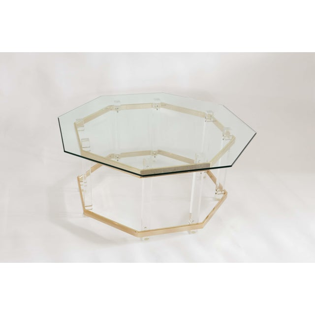 Charles Hollis Jones 1960s Art Deco Charles Hollis Jones Brass and Lucite Octagonal Coffee Table For Sale - Image 4 of 10
