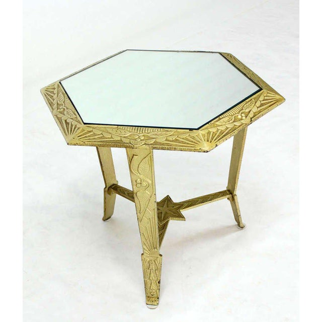 Mid-Century Modern, Hexagon-Top and Star Base Side or Occasional Table For Sale - Image 9 of 10