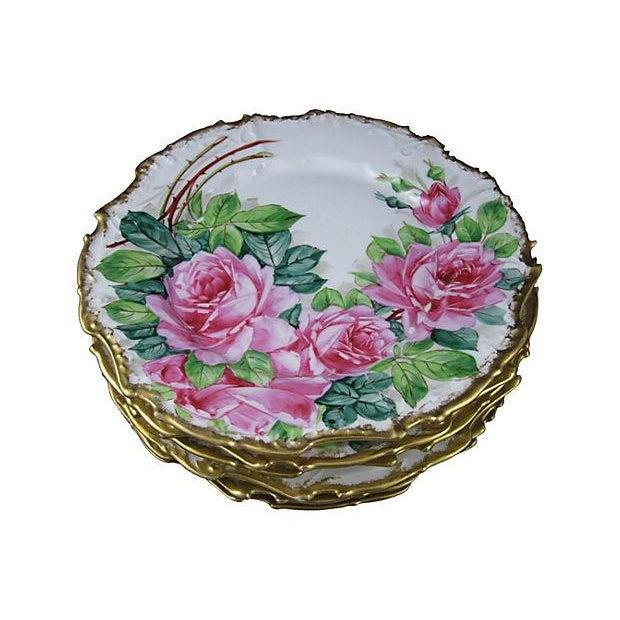 Gold Rimmed Porcelain Rose Plates- Set of 6 - Image 2 of 5