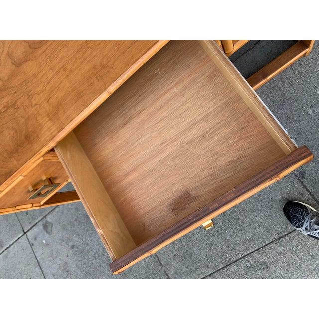 Mid-Century Vintage Bamboo Trimmed Desk For Sale - Image 10 of 11