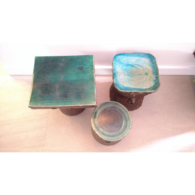 Art Nouveau 1960s Vintage Art Nouveau Ceramic Tree Trunk End Tables- Set of 3 For Sale - Image 3 of 12