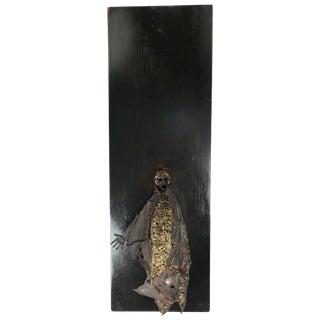 Unusual Brutalist Bronze Figure Mounted Sculpture For Sale