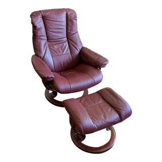 Modern Ekornes Stressless Leather Recliner and Ottoman For Sale