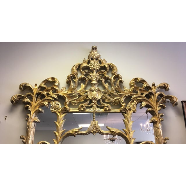 Absolutely over the top! This Italian Made Gold Gilded Pier Mirror stands an astounding over nine feet tall and over four...