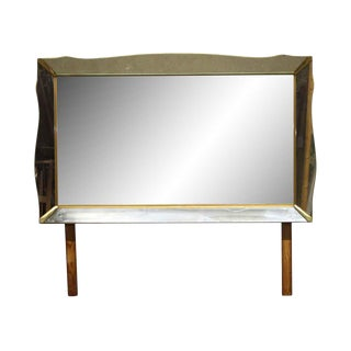 1940s Art Deco 68 In. Dresser Mirror With Mirrored Frame For Sale