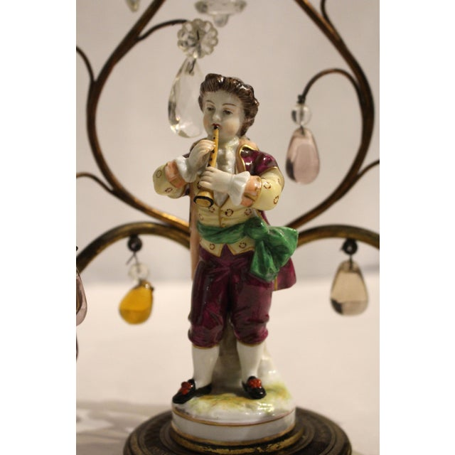 Gilt Bronze Porcelain Figurine Candelabras - a Pair For Sale In Raleigh - Image 6 of 11