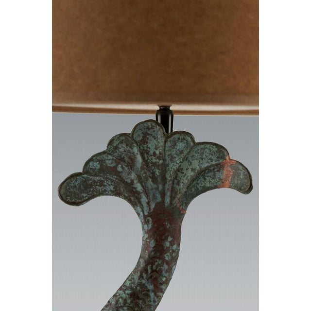 Late 19th Century Verdigris Copper Dolphin Waterspout, France c. 1895 Mounted as a Custom lamp For Sale - Image 5 of 6