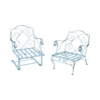 Quality Pair Wrought Iron Garden Armchairs For Sale