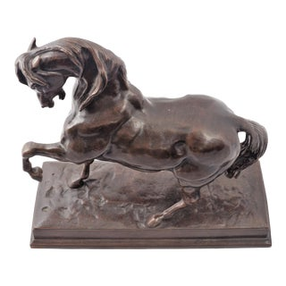 "19th C. Bronze Horse Sculpture Signed ""Barye"" For Sale"