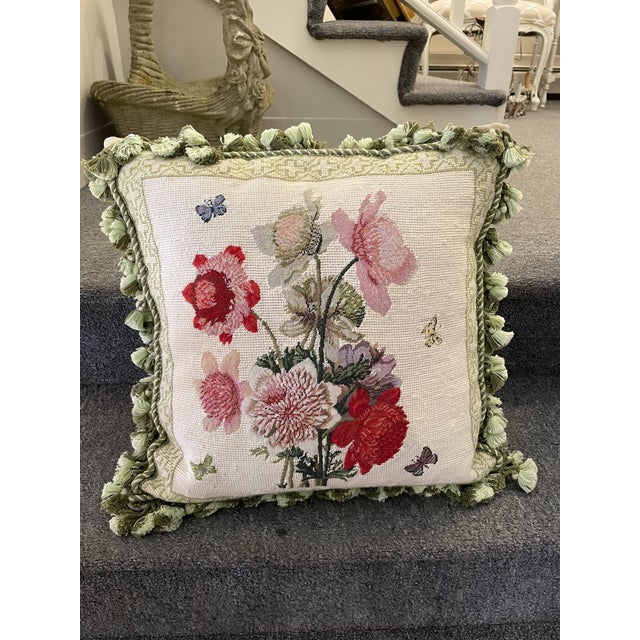 Vintage Floral Down-Filled Pillow For Sale In Boston - Image 6 of 6