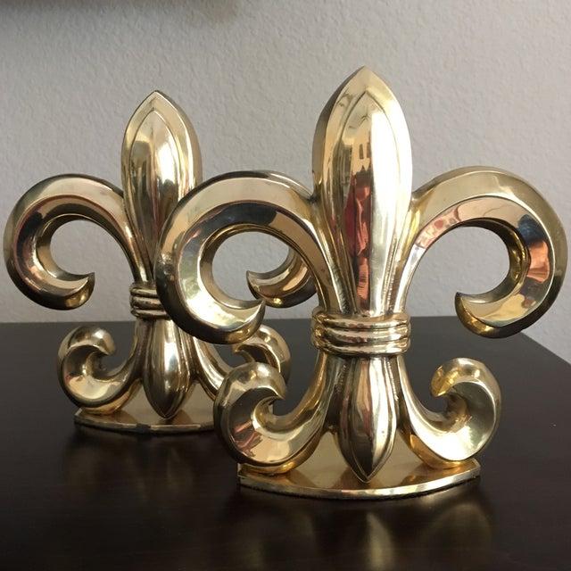 Gold Fleur De Lis Solid Brass Bookends For Sale - Image 8 of 8