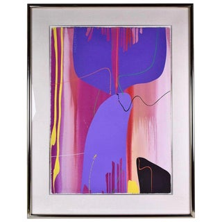 1990s Abstract Gouache Painting on Paper by Lamar Briggs For Sale